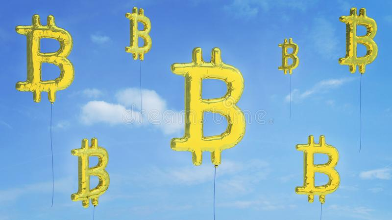 Risque de bulle de Bitcoin d'aller éclaté image stock