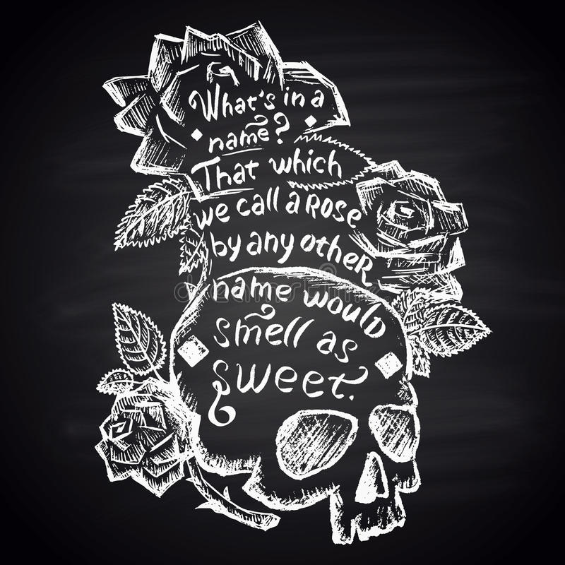 Risque a ilustração pintada com crânio, rosas e citações (Shakespeare) lettering ilustração royalty free