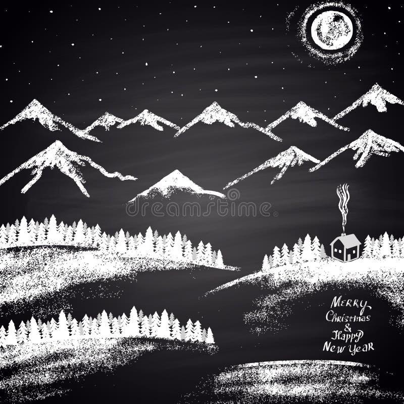 """Risque a ilustração tirada do Natal com montanhas, montes de neve, lua, casa e do """"texto Feliz Natal & do ano novo feliz"""" ilustração royalty free"""