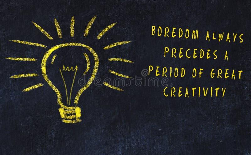Risque o desenho do bulbo e da inscrição sobre a arte e a faculdade criadora ilustração stock