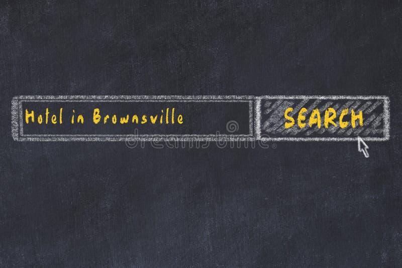 Risque o esbo?o do Search Engine Conceito de procurar e de registrar um hotel em Brownsville imagem de stock
