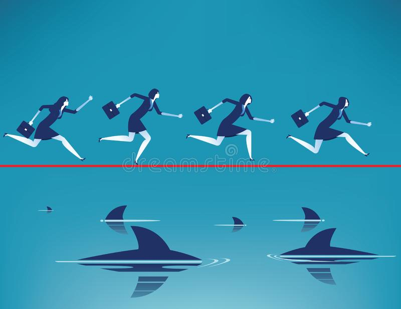 risque ?quipe d'affaires courant sur la corde raide dans la corde avec flotter les requins pr?dateurs Illustration de vecteur d'a illustration libre de droits