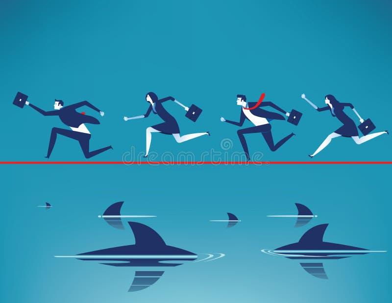 risque ?quipe d'affaires courant sur la corde raide dans la corde avec flotter les requins pr?dateurs Illustration de vecteur d'a illustration stock