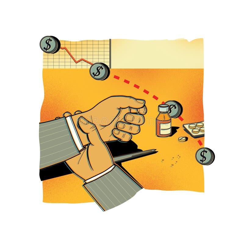 RISQUES FINANCIERS Indices des actions en baisse Un homme dans des contrôles d'un costume sa main avec une impulsion Médecines et illustration stock
