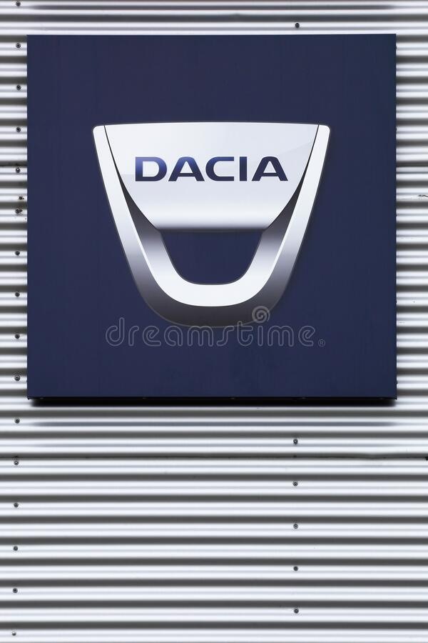 Dacia logo on wall stock photography