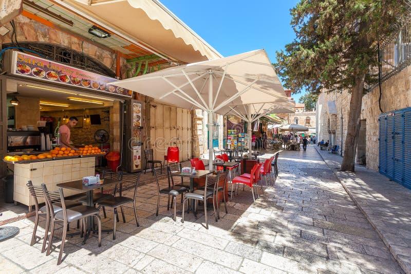 Ristorante all'aperto nell'area di Muristan, Gerusalemme immagini stock