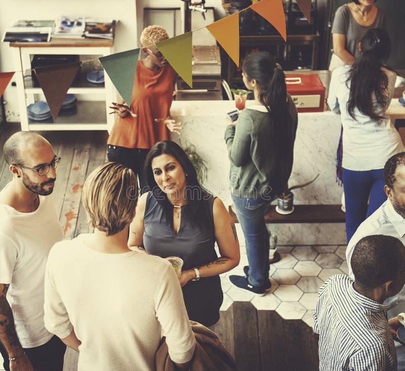 Ristorante allegro di riunione del caffè che parla Team Concept immagine stock