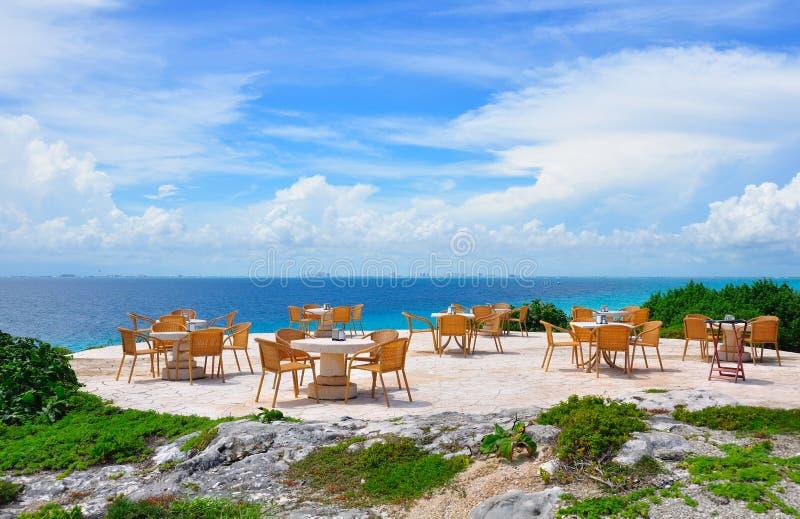 Ristorante caraibico della spiaggia, Messico fotografia stock