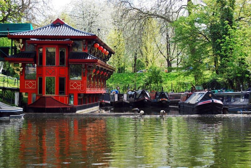 Ristorante cinese di galleggiamento sul canale del reggente, Londra fotografia stock libera da diritti