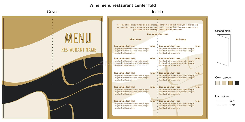 Ristorante del menu del vino illustrazione di stock