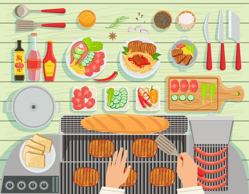 Ristorante della griglia che cucina vista dell'insieme di elementi della Tabella da sopra royalty illustrazione gratis