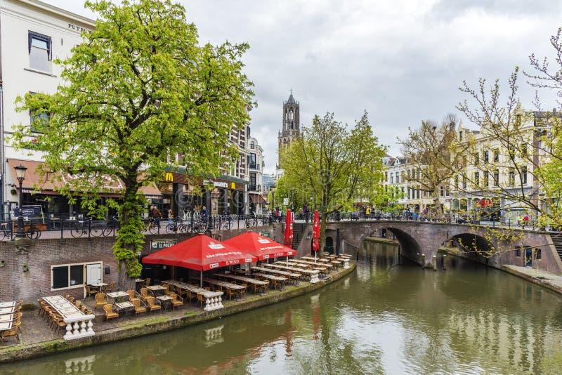 Ristorante di Ouside a Utrecht fotografie stock