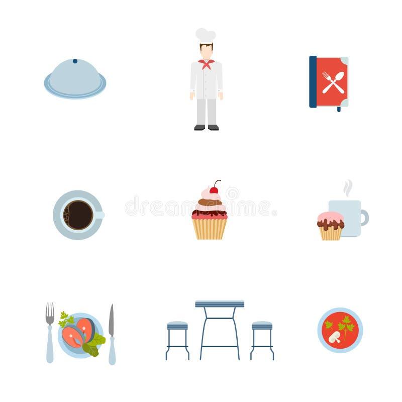 Ristorante piano che cucina l'icona di app di web: bistecca del cuoco unico del cuoco royalty illustrazione gratis