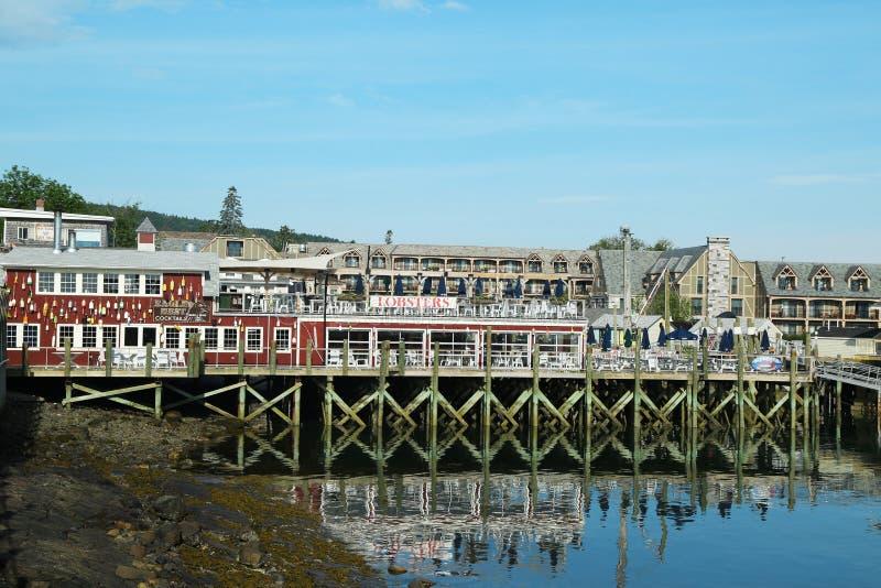 Ristorante portuale dell'aragosta nel porto storico di Antivari, Maine fotografia stock