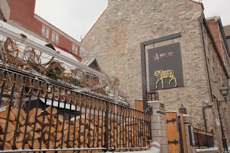 Ristorante singolare nella vecchia città, Montreal fotografia stock