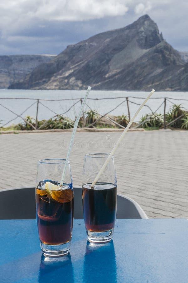 Ristorante sulla spiaggia su Oporto Santo fotografia stock