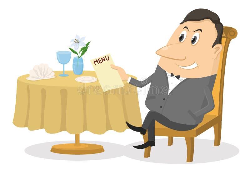 Ristorante, uomo vicino alla tavola, isolata illustrazione vettoriale