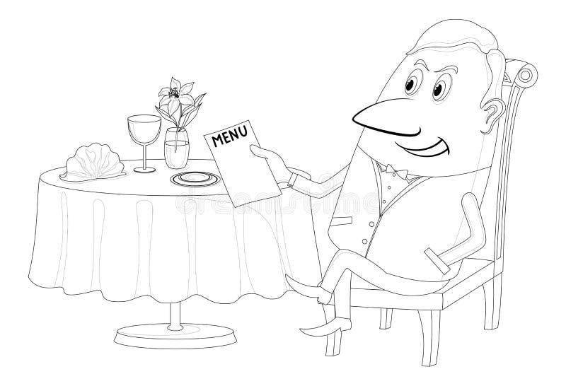 Ristorante, uomo vicino alla tavola, isolata, contorno illustrazione di stock
