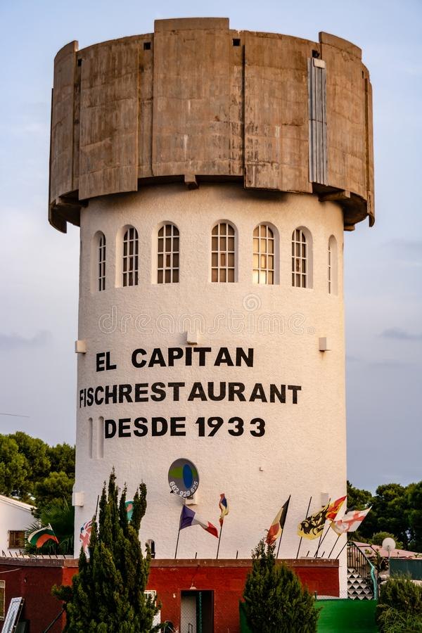 Ristorante Watertower del pesce fotografia stock