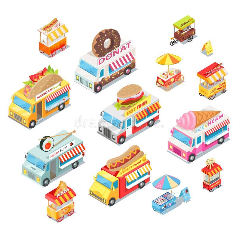 Ristoranti dell'alimento della via sull'insieme isometrico di vettore della ruota royalty illustrazione gratis