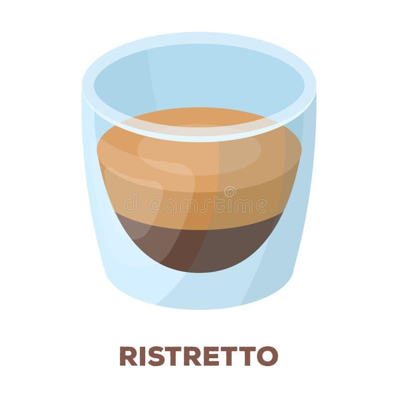 Ristretto szkło Różni typ kawa przerzedżą ikonę w kreskówka stylu symbolu zapasu ilustraci wektorowej sieci ilustracja wektor