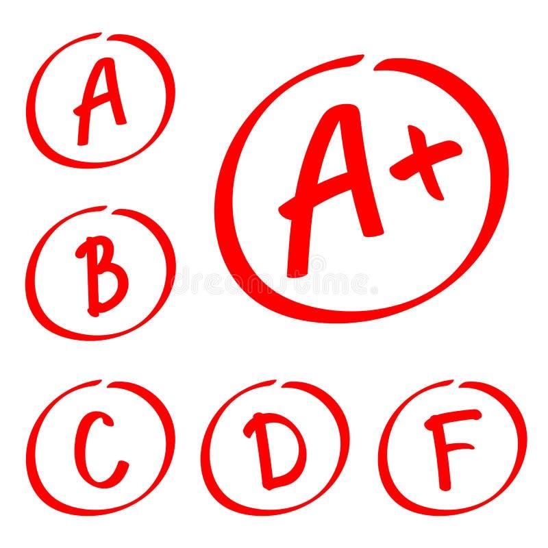 Risultati del grado Insieme disegnato a mano di vettore dei gradi Note rosse illustrazione vettoriale