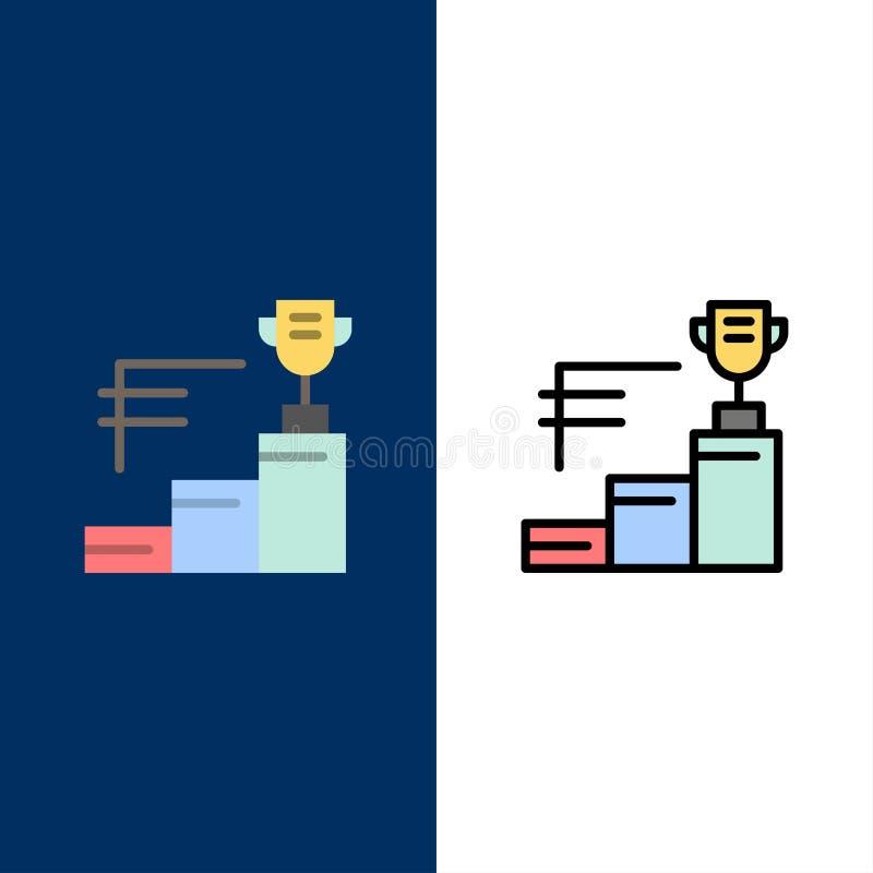 Risultati, premio, trofeo, icone della tazza del trofeo Il piano e la linea icona riempita hanno messo il fondo blu di vettore royalty illustrazione gratis