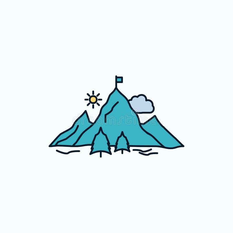risultato, bandiera, missione, montagna, icona piana di successo segno e simboli verdi e gialli per il sito Web e il appliation m illustrazione vettoriale