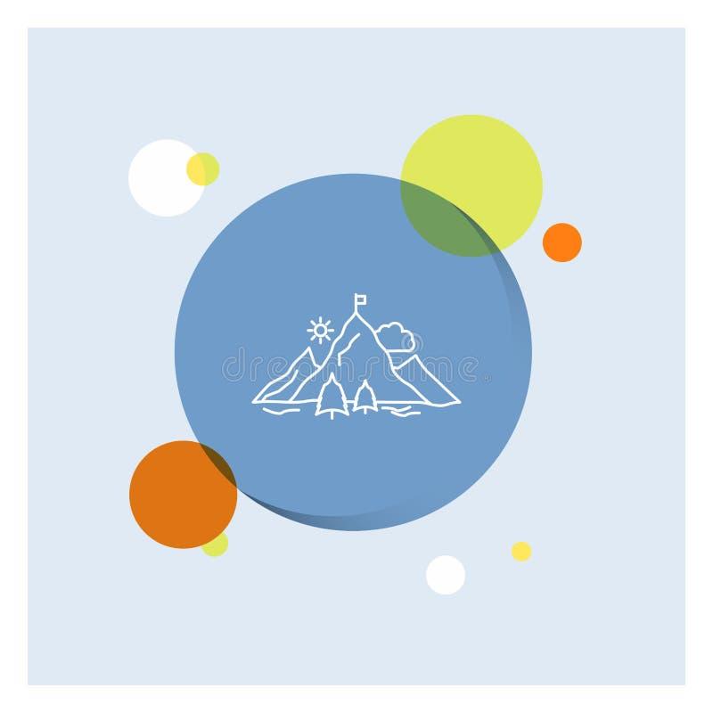 risultato, bandiera, missione, montagna, linea bianca fondo variopinto di successo del cerchio dell'icona royalty illustrazione gratis