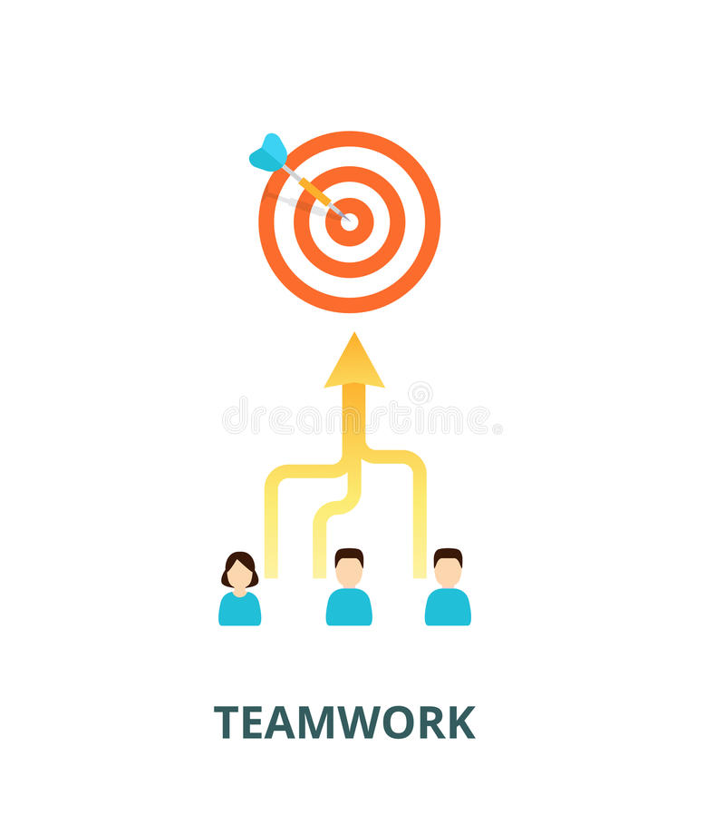 Risultato del concetto di risultati Il gruppo è impegnato in un singolo scopo - illustrazione Combinazione delle abilità nel lavo royalty illustrazione gratis