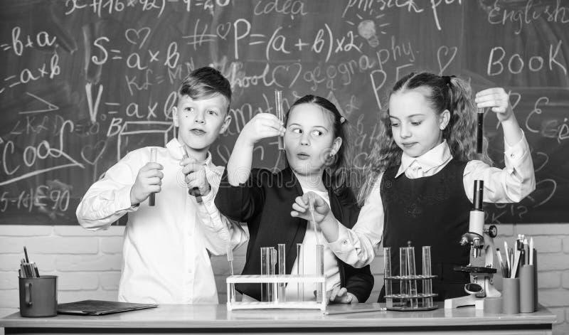 Risultato del controllo Ragazze ed esperimento di comportamento dello studente del ragazzo con i liquidi Concetto di lavoro di sq immagine stock