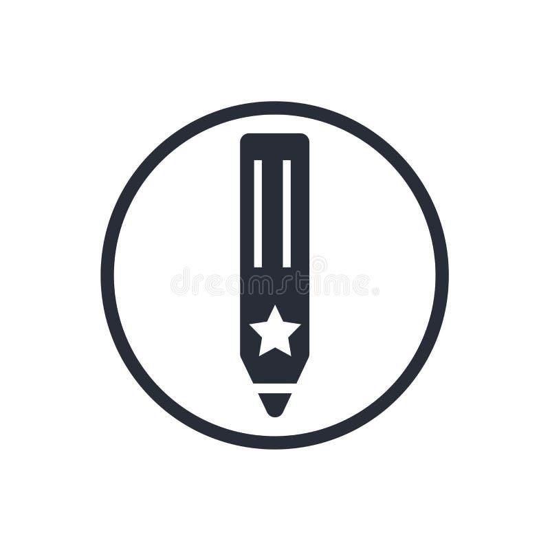 Rita det symbolsvektortecknet och symbolet som isoleras på vit bakgrund, blyertspennalogobegrepp stock illustrationer