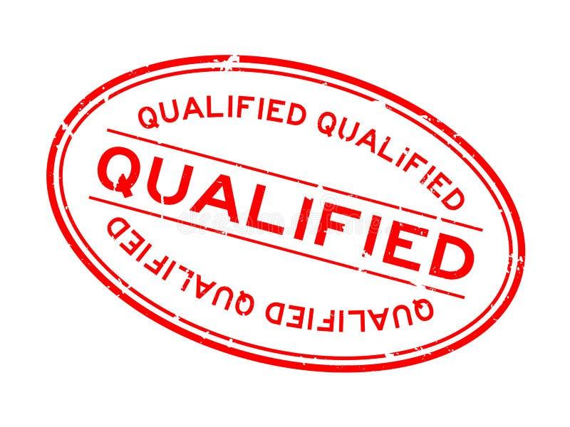 Rita röda, kvalificerade ord ovala gummistämpel på vit bakgrund stock illustrationer
