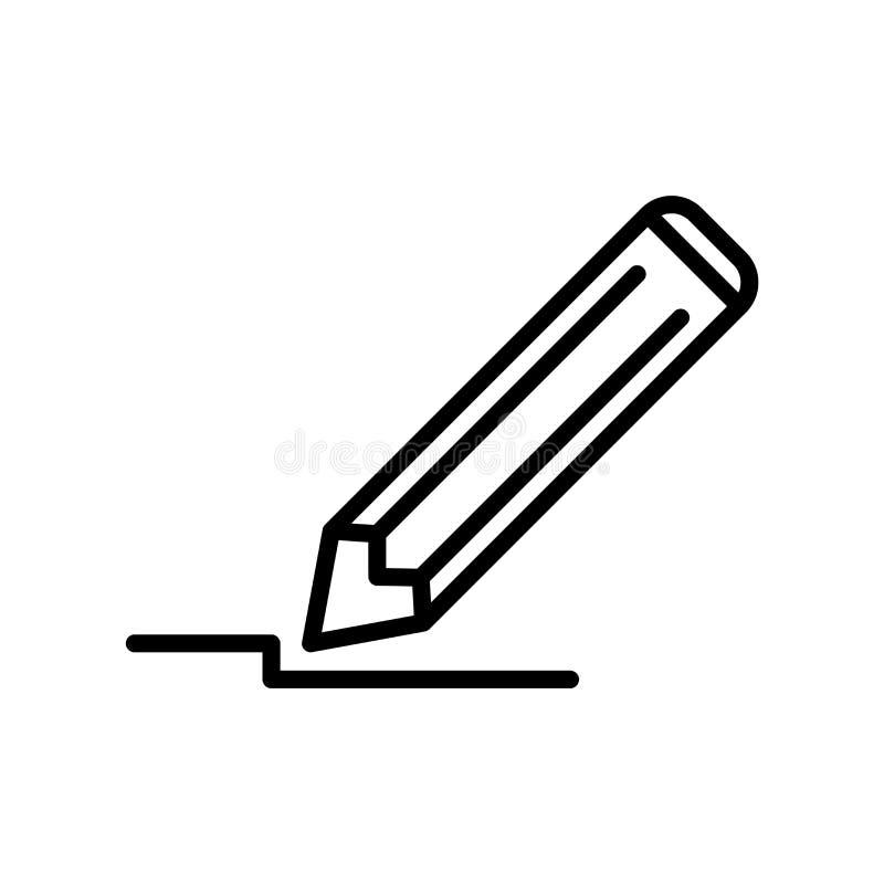 Rita symbolsvektorn som isoleras på vit bakgrund, blyertspennatecken royaltyfri illustrationer