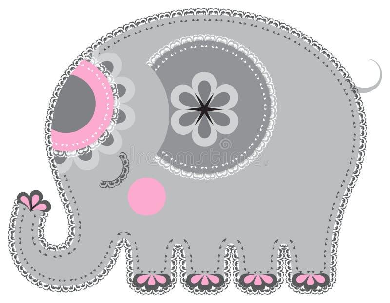 Ritaglio dell'animale del tessuto. Elefante illustrazione vettoriale