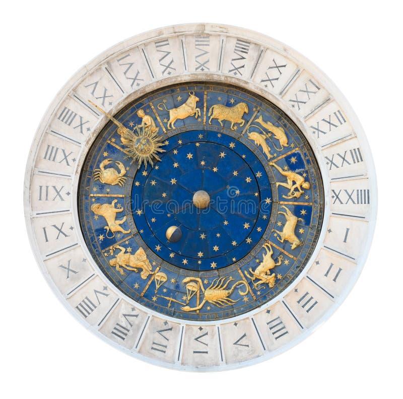Ritaglio della manopola di orologio della torretta di Venezia fotografie stock