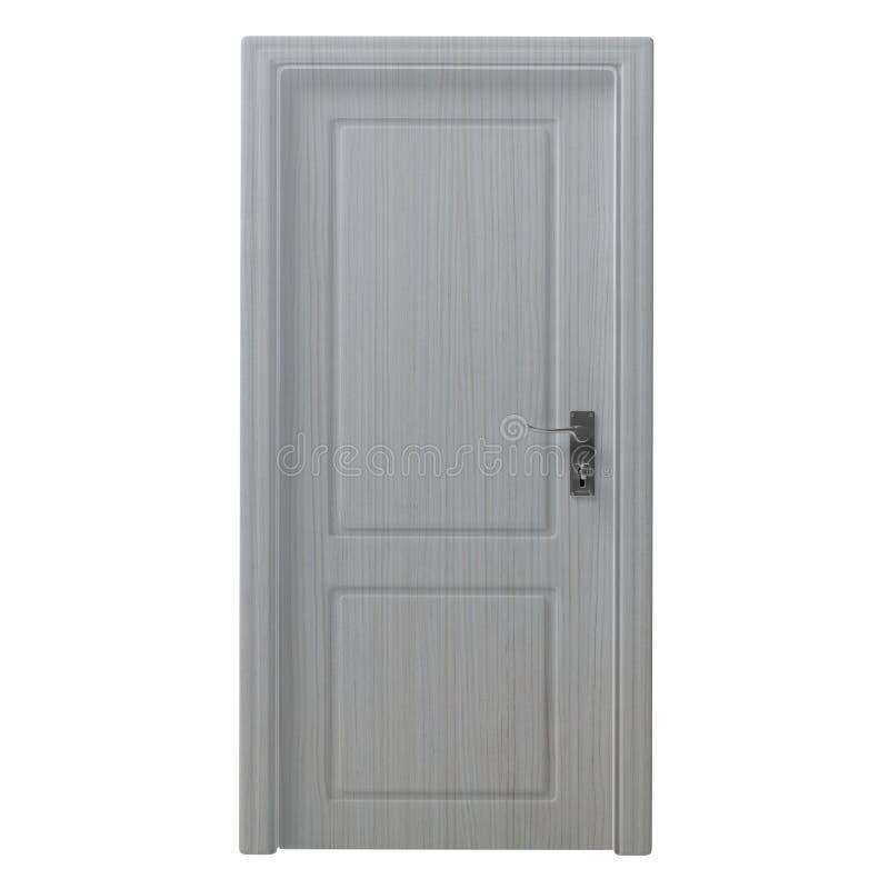 Ritaglio isolato a porta chiusa decorato di legno su fondo bianco illustrazione 3D illustrazione di stock