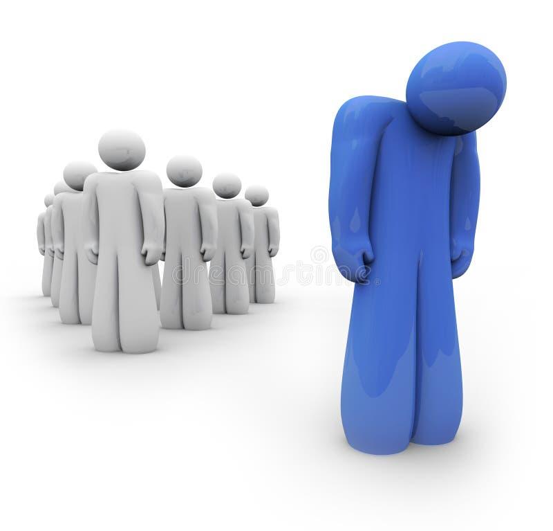 Ritenere blu - una persona depressa illustrazione di stock