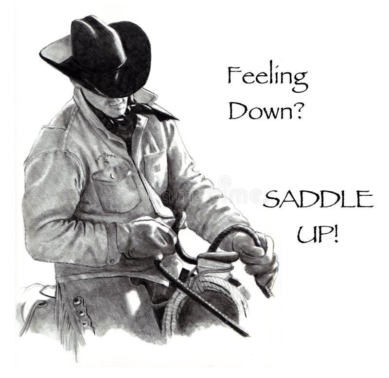 Ritenere giù? Sella in su! Illustrazione di matita, cowboy illustrazione vettoriale