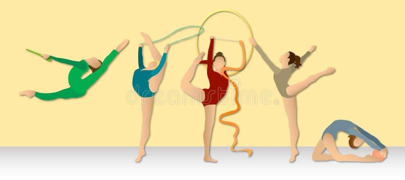 Ritmische Gymnastiek: De volledige Groep van de Kleur royalty-vrije illustratie
