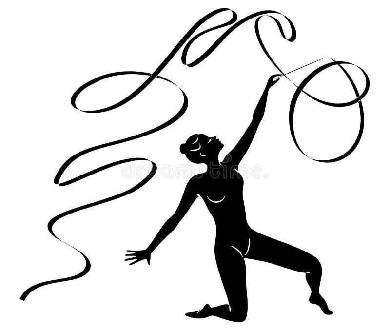 Ritmische Gymnastiek - gekleurd vectorial pictogram Silhouet van een meisje met een lint De mooie turner de vrouw is slank en jon vector illustratie