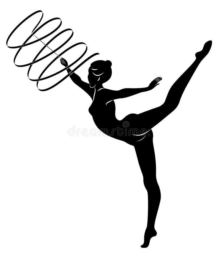 Ritmische Gymnastiek - gekleurd vectorial pictogram Silhouet van een meisje met een lint De mooie turner de vrouw is slank en jon royalty-vrije illustratie