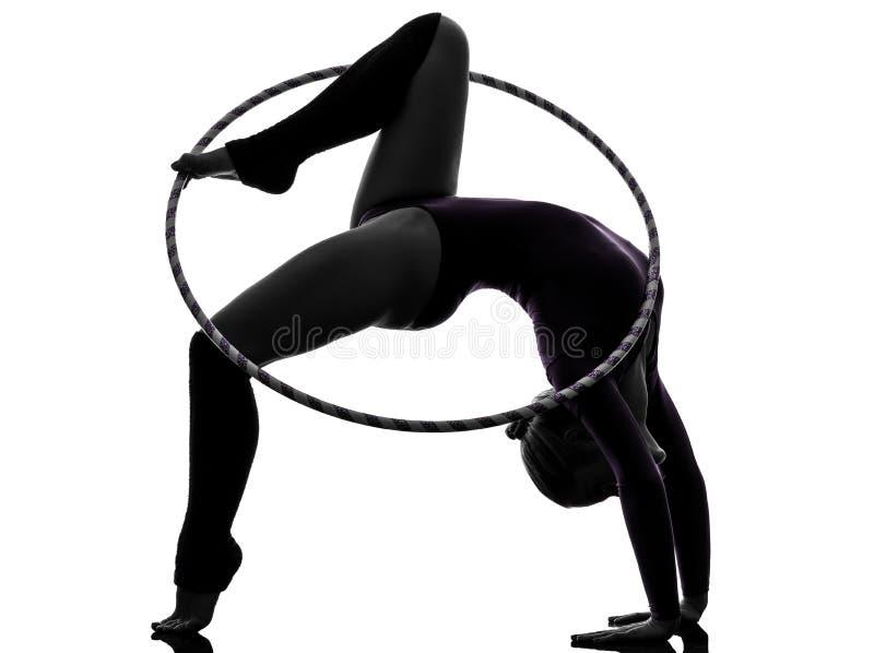 Ritmische Gymnastiek met de vrouwensilhouet van de hulahoepel royalty-vrije stock afbeelding