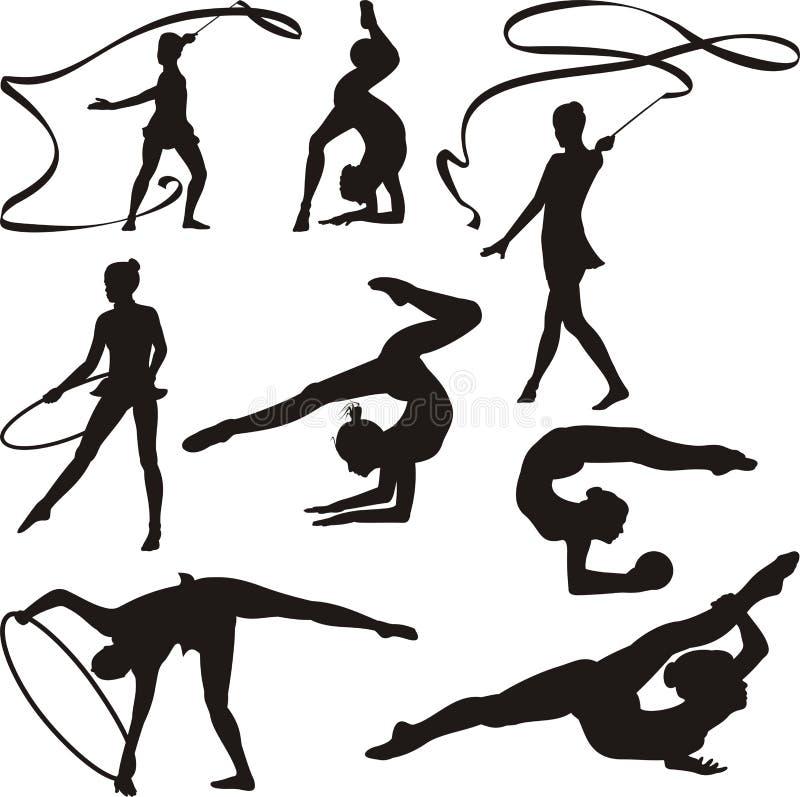 Ritmische gymnastiek - silhouetten vector illustratie