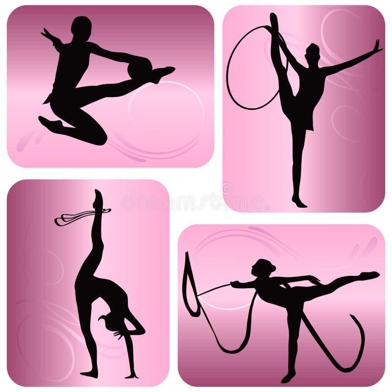 Ritmische gymnastieksilhouetten vector illustratie