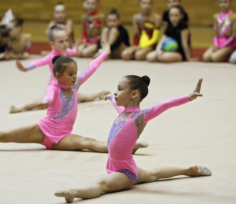 Ritmische gymnastiektoernooien stock fotografie