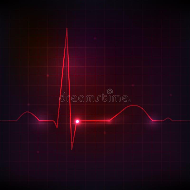 Ritmo cardiaco umano, bella progettazione luminosa illustrazione vettoriale