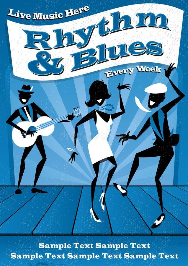 Ritmo e cartaz dos azuis ilustração royalty free