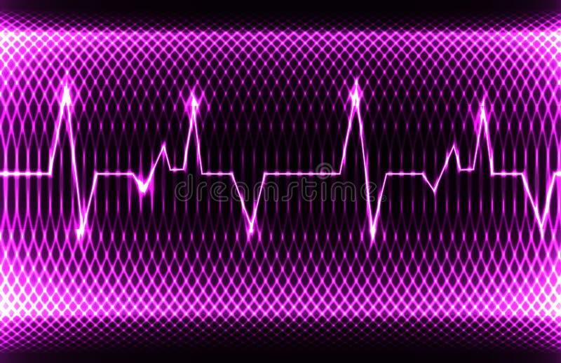 Ritmo normal da cavidade do coração humano colorido, registro do eletrocardiograma Projeto brilhante e corajoso ilustração stock