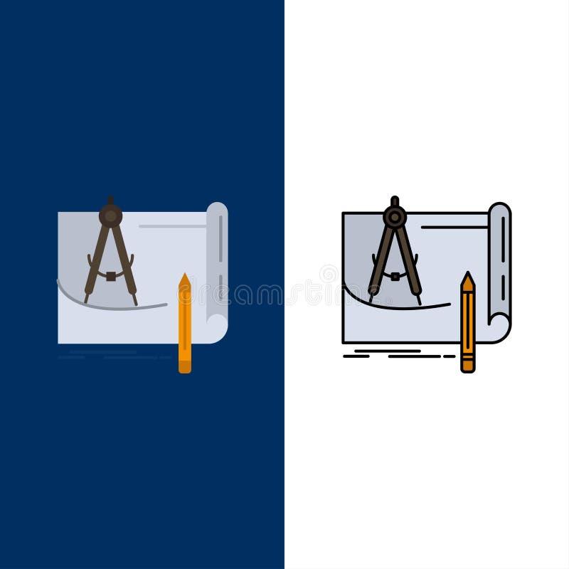 Ritning arkitektur, ritning, konstruktion, papper, plansymboler Lägenheten och linjen fylld symbol ställde in blå bakgrund för ve stock illustrationer